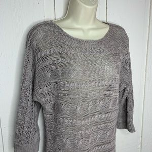 Chico's grey linen knit sweater size 1 (small)